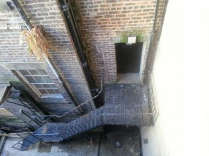 pigeon fouling on a fire escape in Newcastle City Centre.